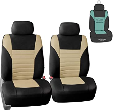 Amazon Com Fh Group Fb068102 Premium 3d Air Mesh Seat Covers Pair Set Airbag Compatible W Gift Beige Black Color Fit Most Car Truck Suv Or Van Automotive