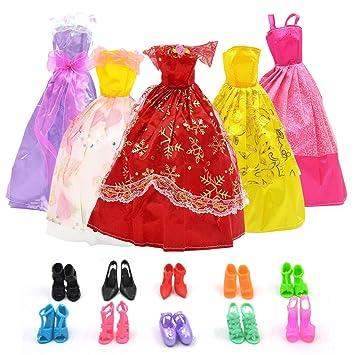 BEETEST Barbie Muñecas Fashion Accesorios Zapatos ropa Portable Set Vestido de fiesta con accesorios de decoración