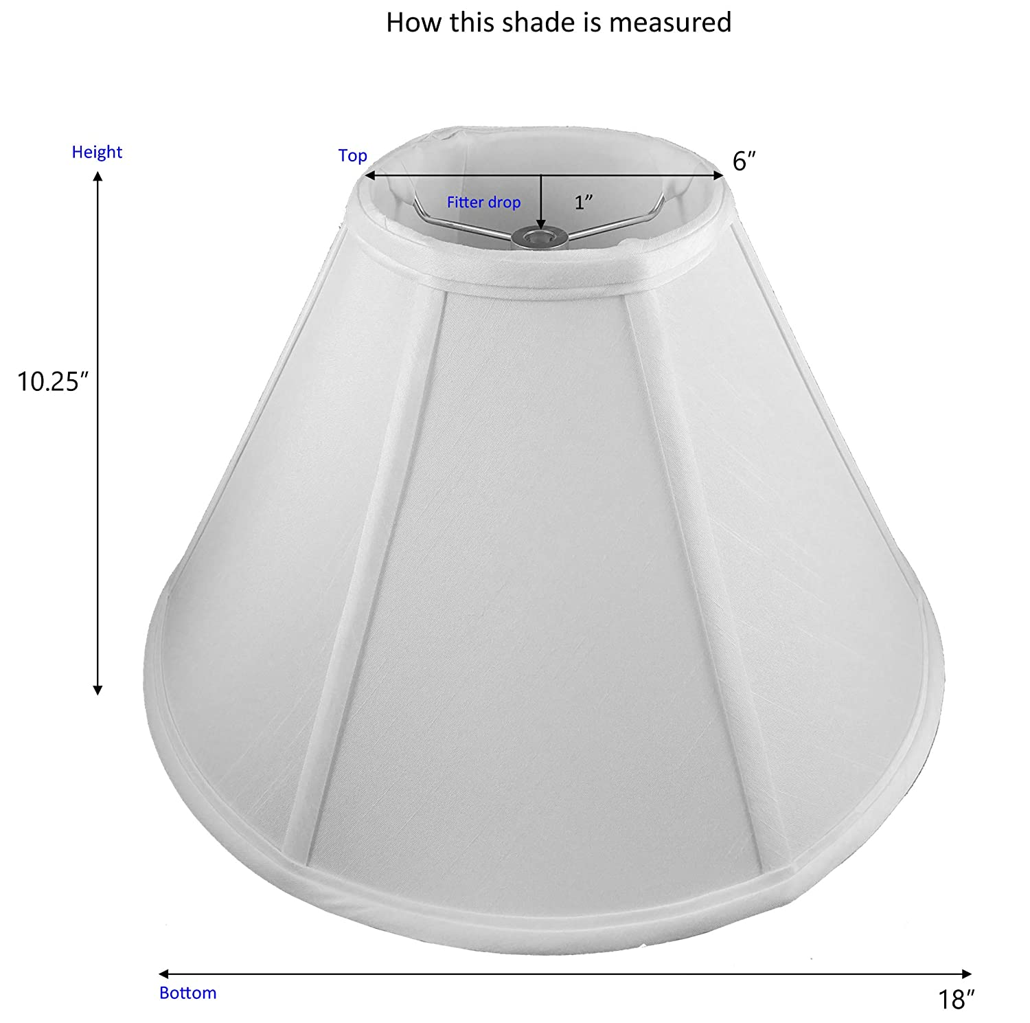 American Pride 6x 18x 11 Round Soft Shantung Tailored Lampshade Croissant