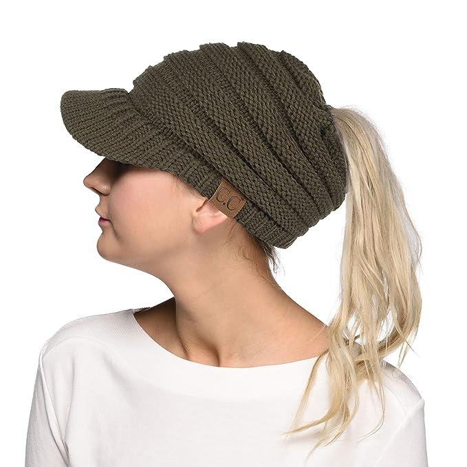 Hatsandscarf C.C Exclusives Messy Bun Ponytail Visor Brim Beanie Hat  (MB-131) ( 11375ec89f7