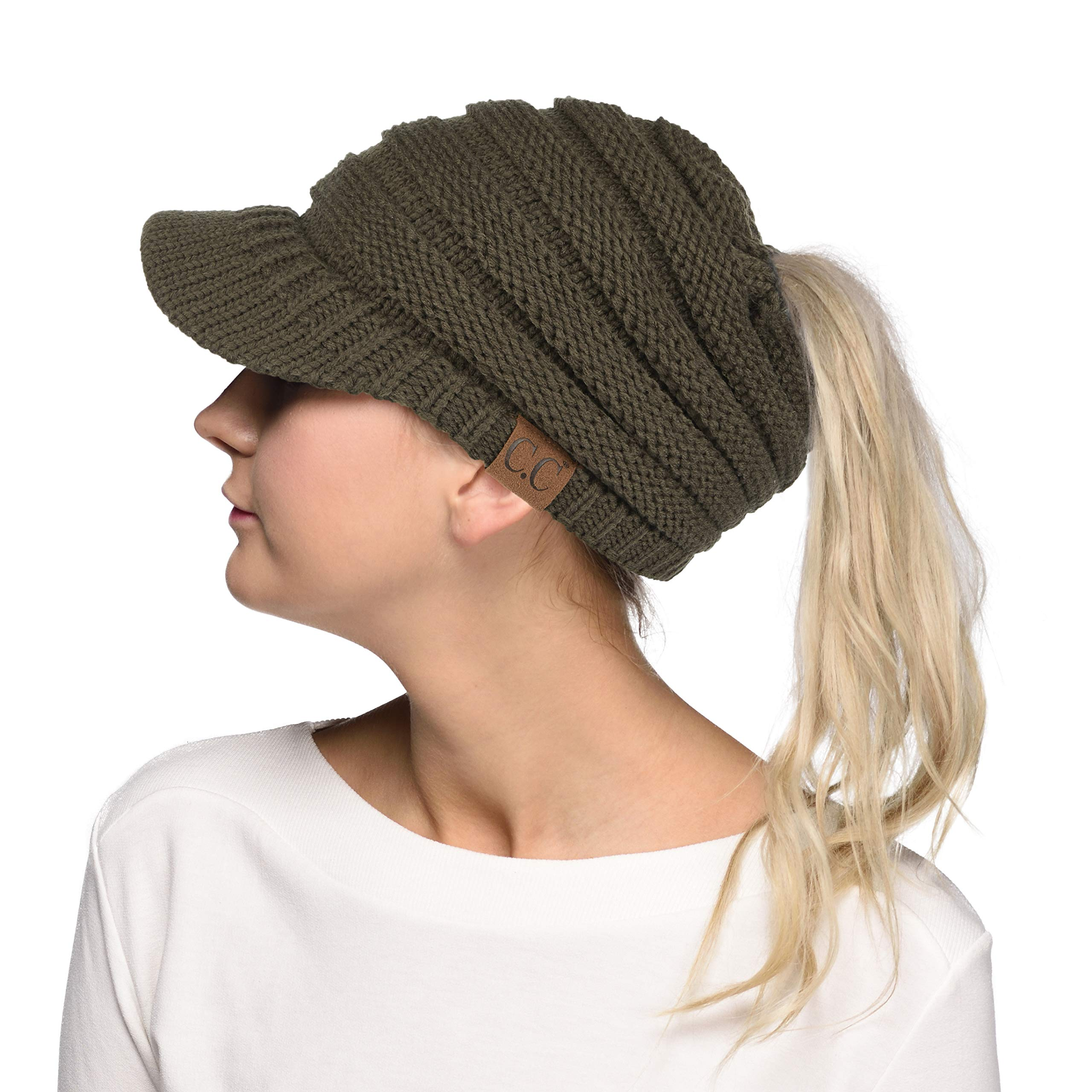Hatsandscarf C.C Exclusives Messy Bun Ponytail Visor Brim Beanie Hat ... 35cf99e488b