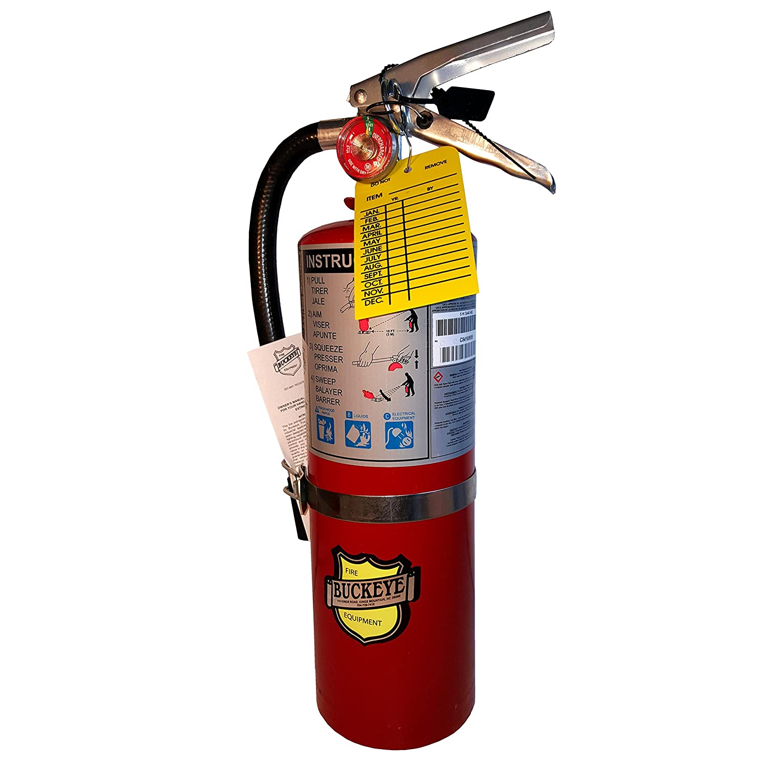 5 LB ABC Fire Extinguisher, Dry Chemical, Fire Extinguisher, with Vehicle Bracket, Visual Monthly Record Tag Buckeye