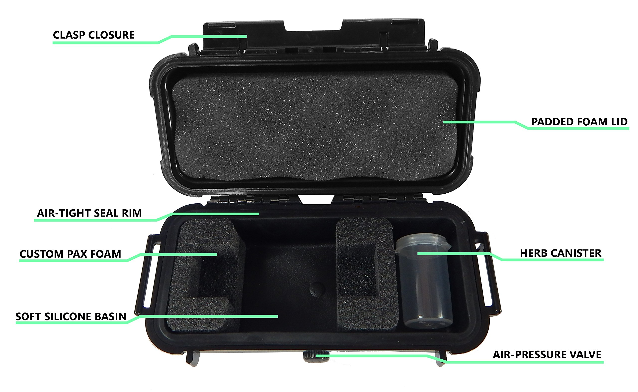 CLOUD/TEN Pax 2 and Pax 3 Custom Case - Smell Proof Odor Resistant Protective Airtight Carry Box - Foam Specially Designed to Hold Pax 2 , Charger and Container Slot - Comes with Free Herb Canister by CASEMATIX (Image #6)