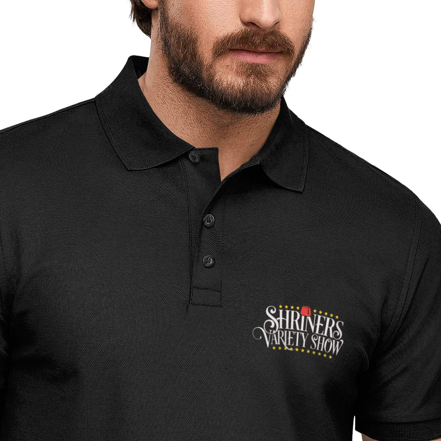 FPPING Shriners Variety Show Printed Mens Tropical Beach Polo Shirt Cotton Shirt