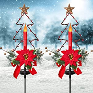 Artiflr 2 Pack Outdoor Solar Christmas Light Decorations, LED Candle Christmas Lights with Artificial Poinsettia Gold Berry and Pine Needles Decorative Garden Stake
