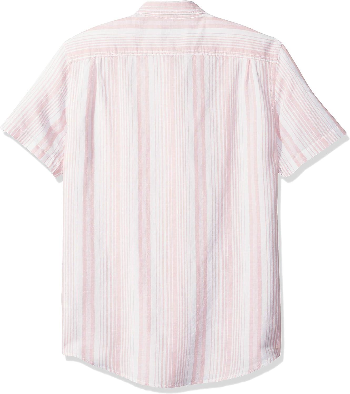 Essentials de manga corta y corte entallado para hombre Camisa de lino a rayas