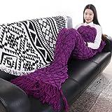 "Amazon Price History for:Senmar Warm and Soft All Seasons Mermaid Blanket Sofa Quilt Living room blanket ,Sleeping Bag and Camping Bag (71""x 35"") (Purple-Scales&Tassel)"