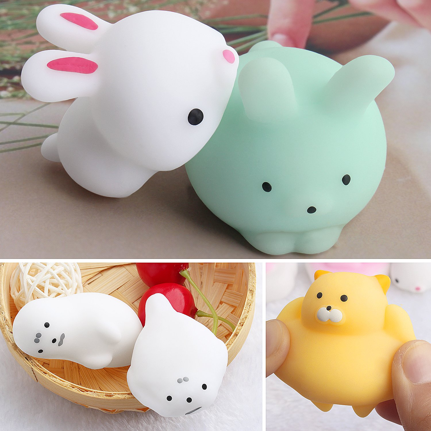 Outee Squishy Animals Toys, 20 Piezas Mochi Squishy Cat Toy Mochi Squeeze Squishy Kawaii Cat Squishy Mochi Toy Alivio de Estrés Juguetes de Animales Kawaii ...