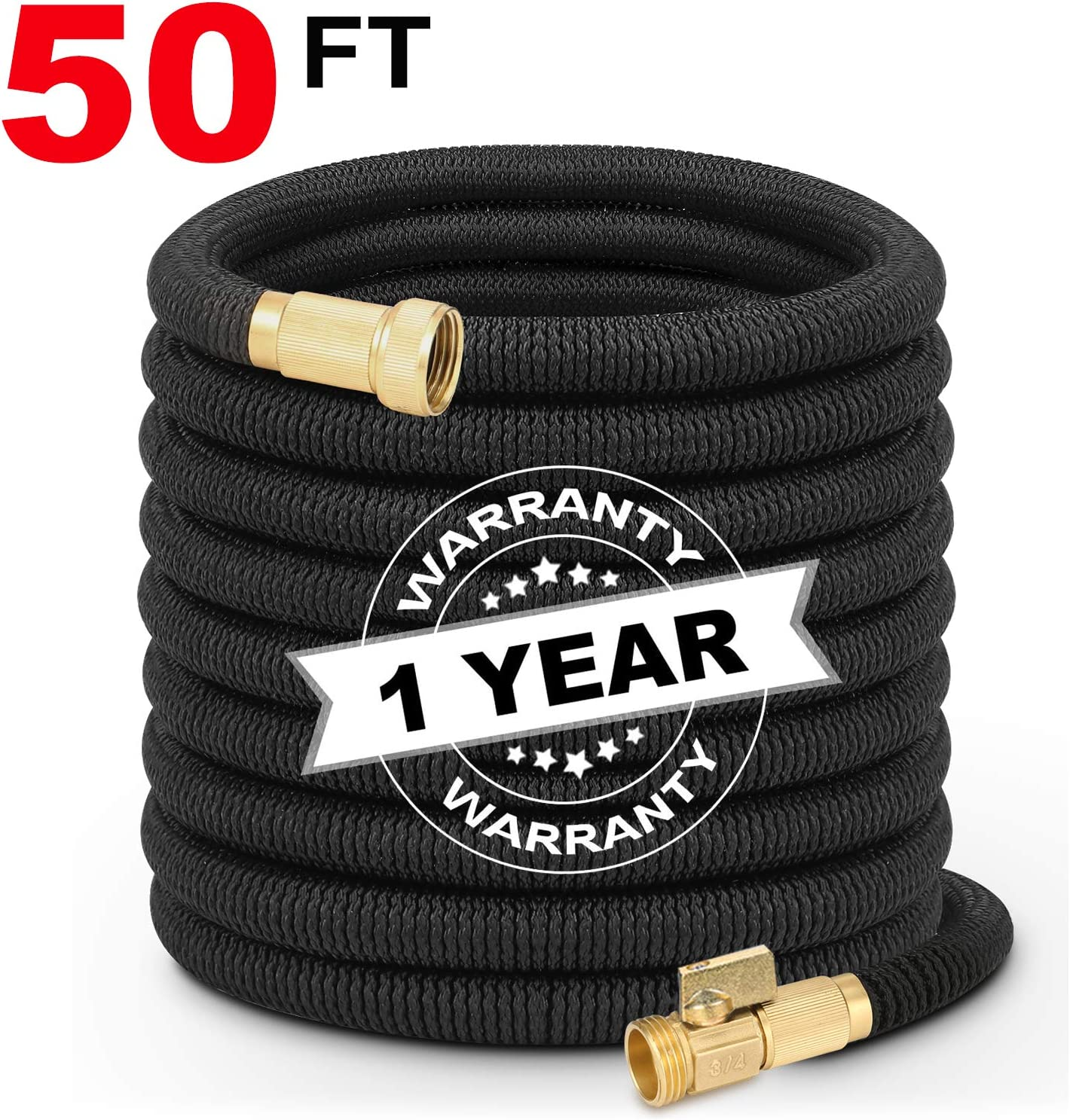 Hermard Expandable Garden Hose 50ft, Flexible Water Hose with Solid Brass Connector, Super Durable Fabric Car Wash Hose, Leakproof Lightweight Expanding Pipe for Watering and Washing