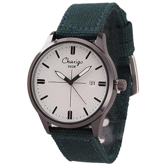 Chaxigo Unisex colorido lienzo relojes hombre marca relojes de cuarzo famosa 9906, color blanco y verde: Chaxigo: Amazon.es: Relojes