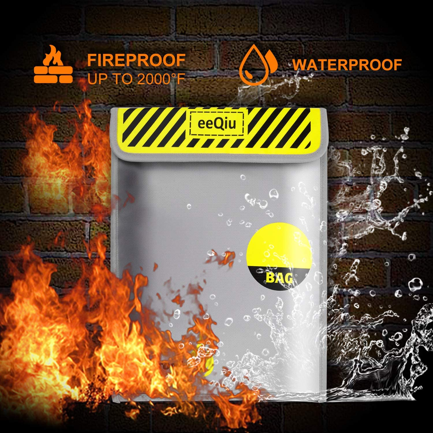 Non-Itchy Silicone Coated Fire Resistant Bag Fireproof Safe Storage for Money Jewelry and Passport with Fireproof Velcro Documents Fireproof Safe Bag eeQiu 15X11 Fireproof Money Bag