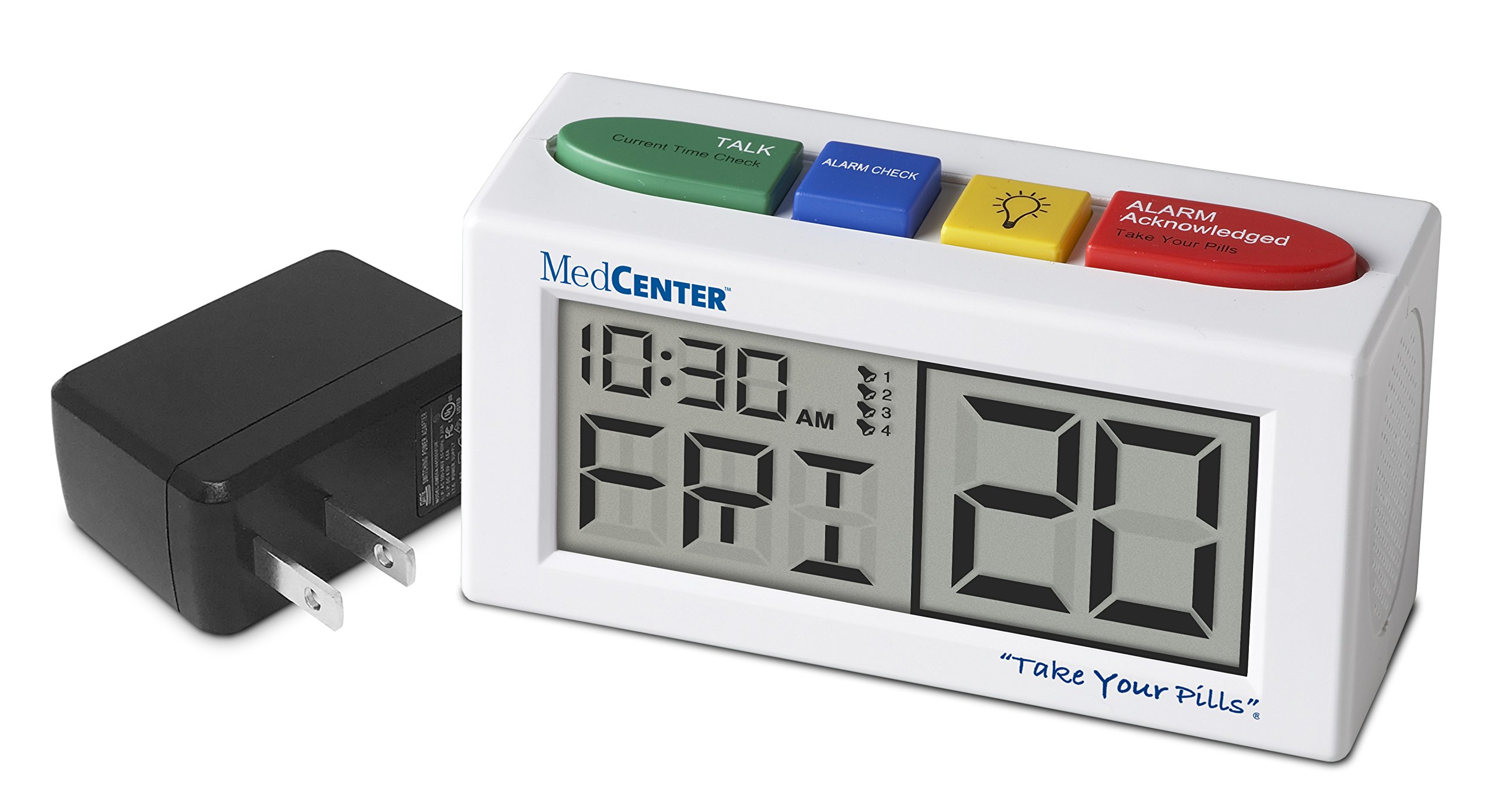 Pill Reminder Talking Alarm Clock with Loud, Easy Set, Multiple Alarms with AC Adapter Included, by MedCenter by MEDCENTER