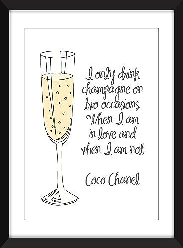 Amazon.com: Coco Chanel Champagne Quote Unframed Print: Handmade