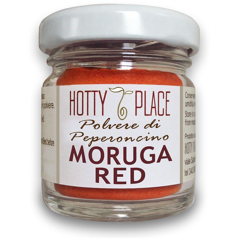 MORUGA RED ottimo gusto POLVERE Peperoncino PICCANTE ESTREMO 2° posto Guinness Record 10g vaso Azienda Agricola Hotty Place