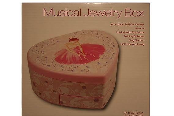5b2e5b17d804 Amazon.com: Heart Shaped Ballerina Musical Jewelry Box - With Pop up  Ballerina: Home & Kitchen