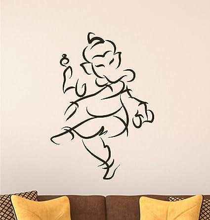 Decals Design 'Dancing Ganesha Sketch Black Sketch God' Wall Sticker (PVC  Vinyl, 50 cm x 70 cm, Black)