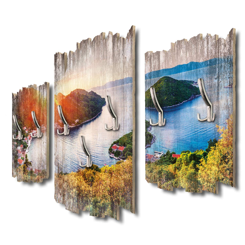Panorama Mljet Kroatien Designer Wandgarderobe Flurgarderobe Wandpaneele 95 x 60 cm aus MDF DTGH028