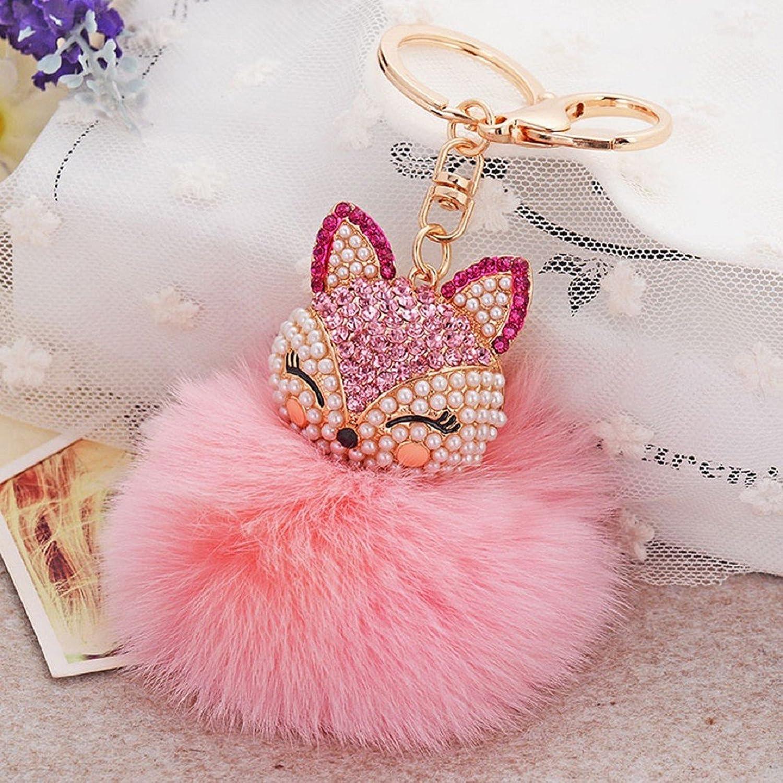 Egmy Solid Color Artificial Rabbit Fur Ball Fox Head Inlay Pearl Rhinestone Key Chain Handbag Charm Key Ring