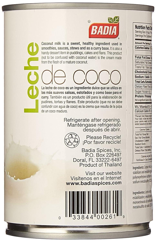 Badia Coconut Milk (17-19% Fat) 13.5 oz: Amazon.com: Grocery & Gourmet Food