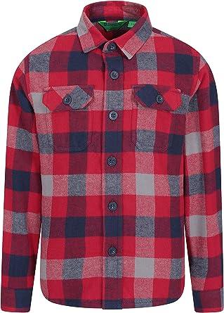 Mountain Warehouse Camisa de Franela Check para niños - 2 Bolsillos en el Pecho, Botones, cálida y cómoda - para Senderismo y Viajes Rojo 7-8 Años: Amazon.es: Ropa y accesorios