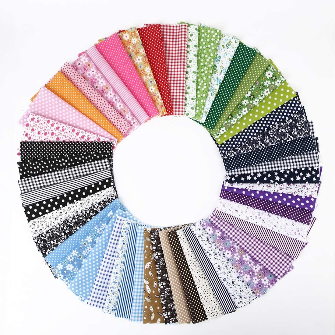 "PLAZALA 50PCS Cotton Craft Fabric Bundle Squares Patchwork DIY Sewing Scrapbooking Quilting 8""x 8"""