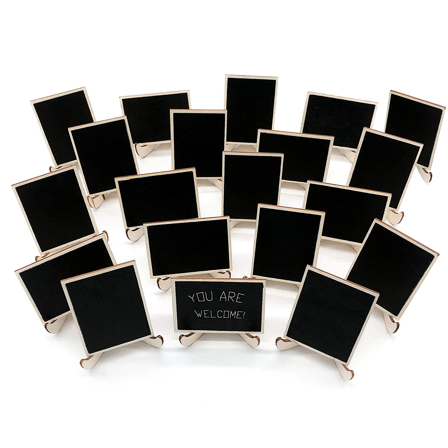 20 Pack Wood Mini Chalkboards Signs with Support Easels, Place Cards, Small Rectangle Chalkboards Blackboard for Weddings, Birthday Parties, Message Board Signs and Event Decorations Wit.J.Corn