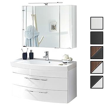 Badmöbel Set Verona Small Weiß 2 Tlg Spiegelschrank 90 Cm Led Beleuchtet Badezimmer Waschplatz 100 Cm Mit 2 Schubladen Waschbecken