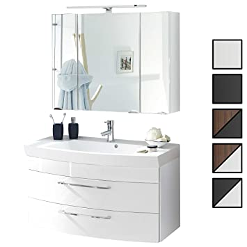 Badmöbel Set Verona Small Weiß 2 Tlg Spiegelschrank 90 Cm Led