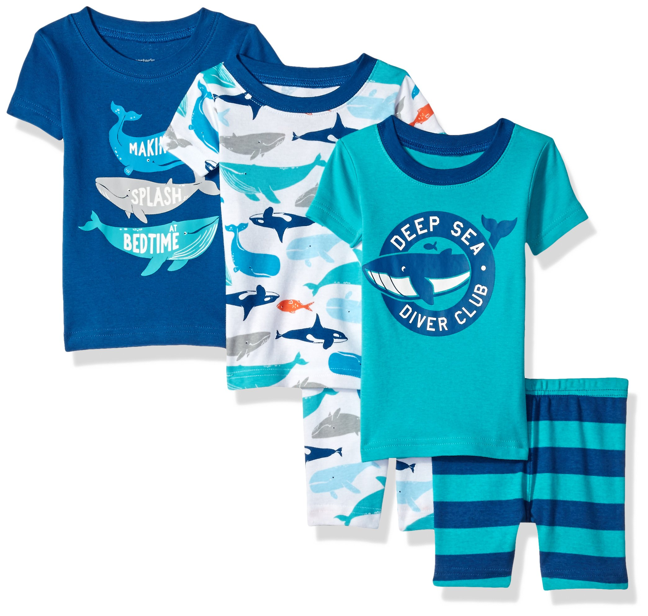 Carter's Baby Boys' 5-Piece Cotton Snug-Fit Pajamas, Whale, 18 Months
