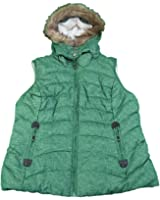 Green Tea Ladies Medium Puffy Vest Jacket w/ Detachable Faux Fur Hood Green
