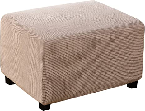 Stretch Elastic Jacquard Ottoman Cover Foot Rest Stool Slipcover Universal