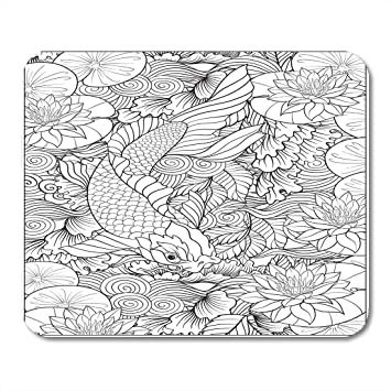 Mouse Pads Oriental Japanese Carp In Lake With Lotus Flowers