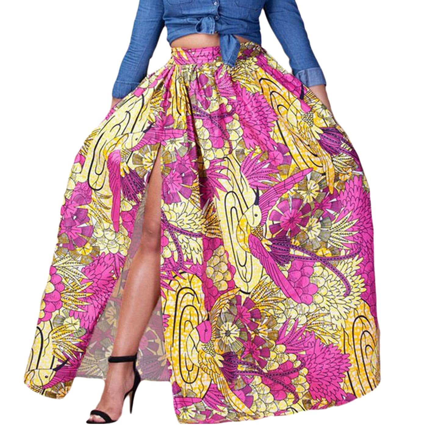 Feoya Women's African Printed Pleated Split Maxi Skirt High Waist A Line Dress