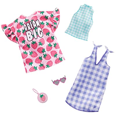 Barbie Clothes: 2 Outfits Doll Include A Strawberry-Print Dress, A Checked Dress and Top, Plus A Strawberry-Decorated Purse and Heart-Shaped Sunglasses, Gift for 3 to 8 Year Olds: Toys & Games