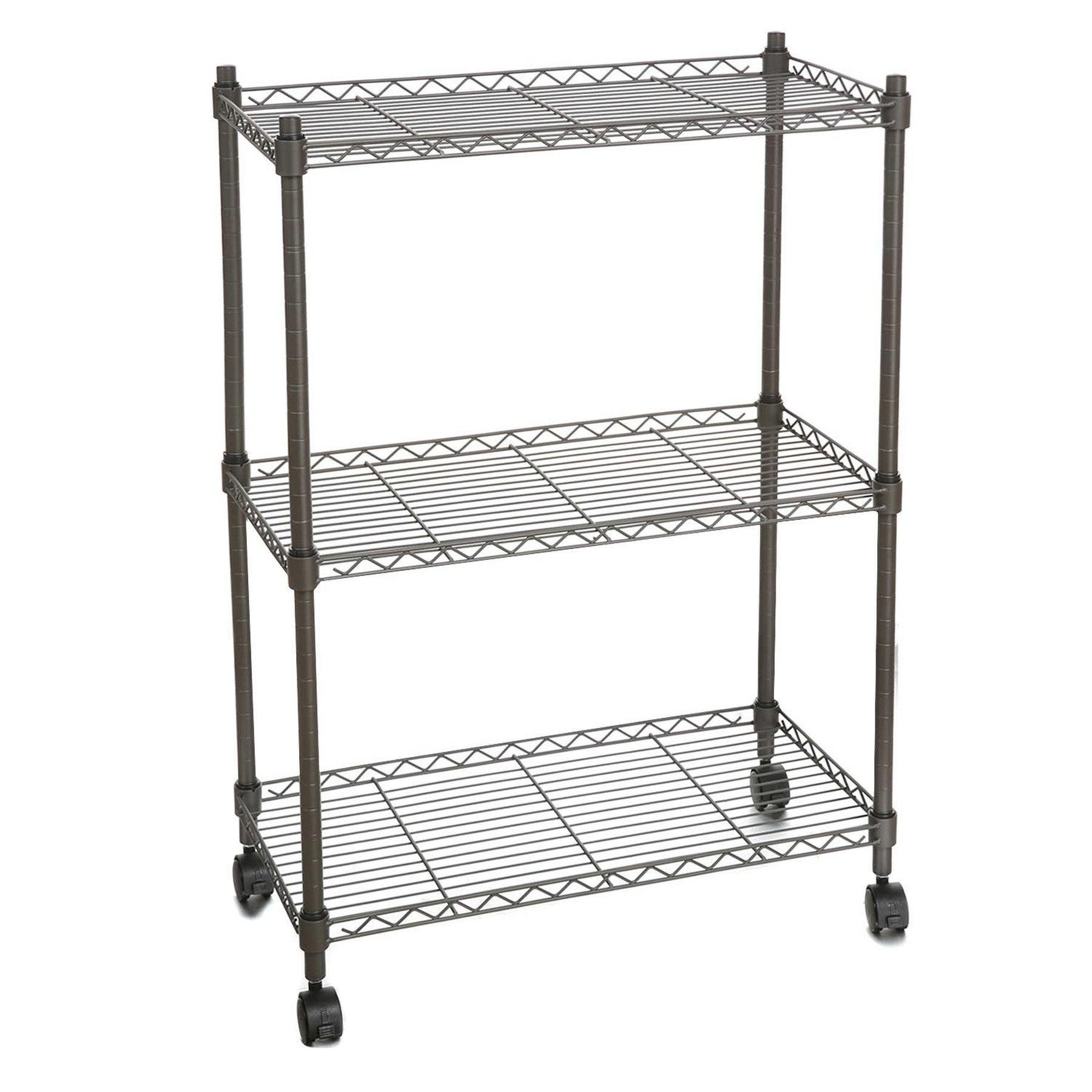 Meflying 3 Tier Wire Shelving, Steel 4 Wheels Rolling Cart Rack Adjustable Shelving Unit Metal Storage Metal Organizer Storage Cart Shelf Cart(US STOCK,3Colors) (Gray)