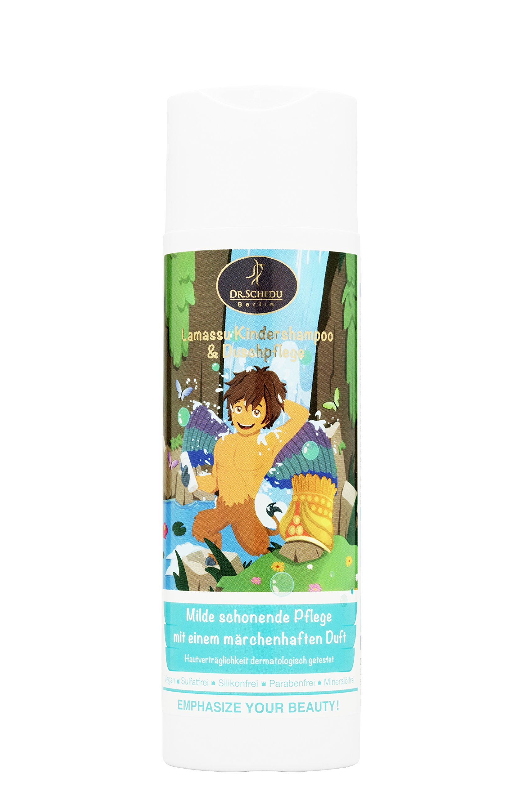 Dr. Schedu Berlin Lamassu Shampoo and Body Wash 200 ml. Vergan, Free of Silicone, Mineral Oils, parabens and colorings. with Broccoli Oil, Aloe Vera, Jojoba Oil and Pantheno