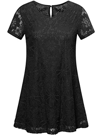 5d0664cc4d6d3 MSBASIC Women s Short Sleeve Floral Lace Blouse Round Neck Casual A ...