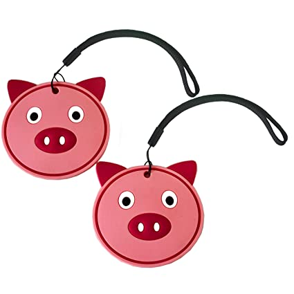 Nido Nest Kids Luggage Name Tags For Children Id Bag Tag For Airplane Travel Trips Backpacks Fun Gift Ideas For Child Set Of 2 Pig