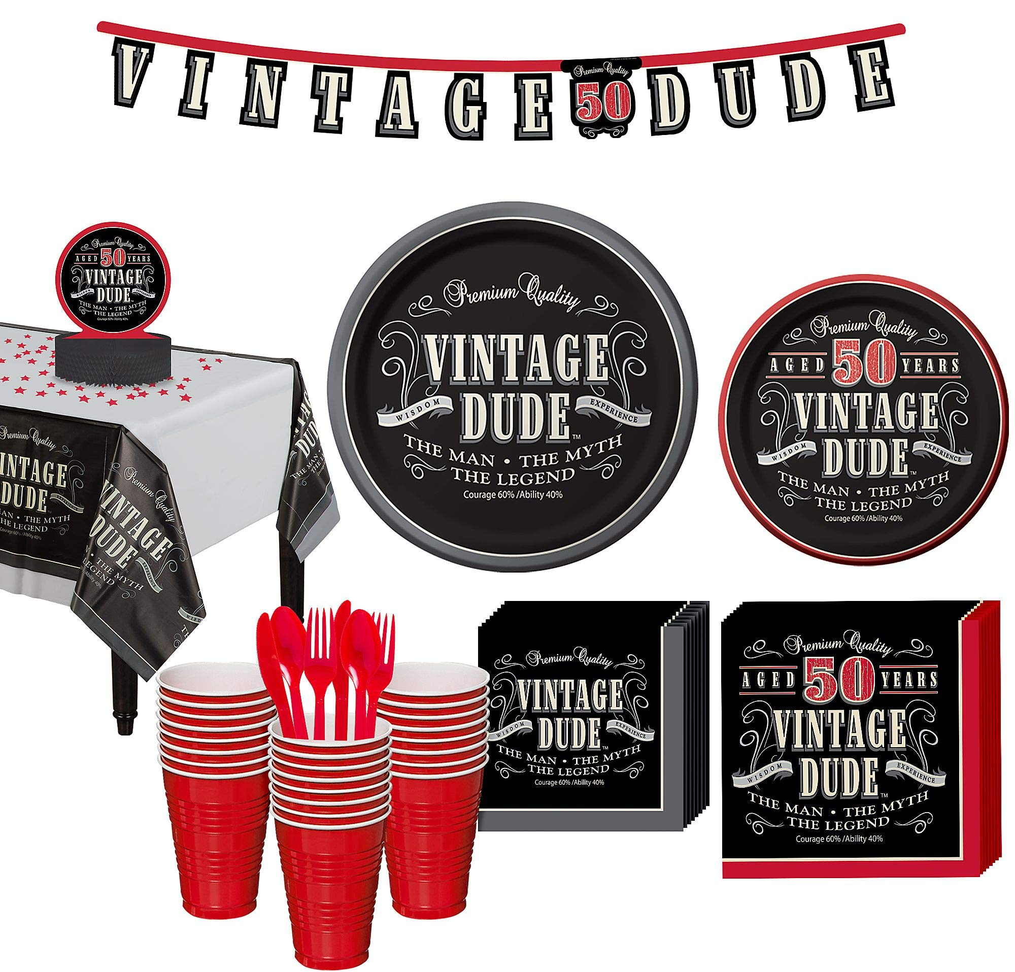 Party City Vintage Dude 50th Birthday Party Kit for 32 Guests, 278 Pieces, Includes Plates, Napkins, and Decorations by Party City (Image #1)