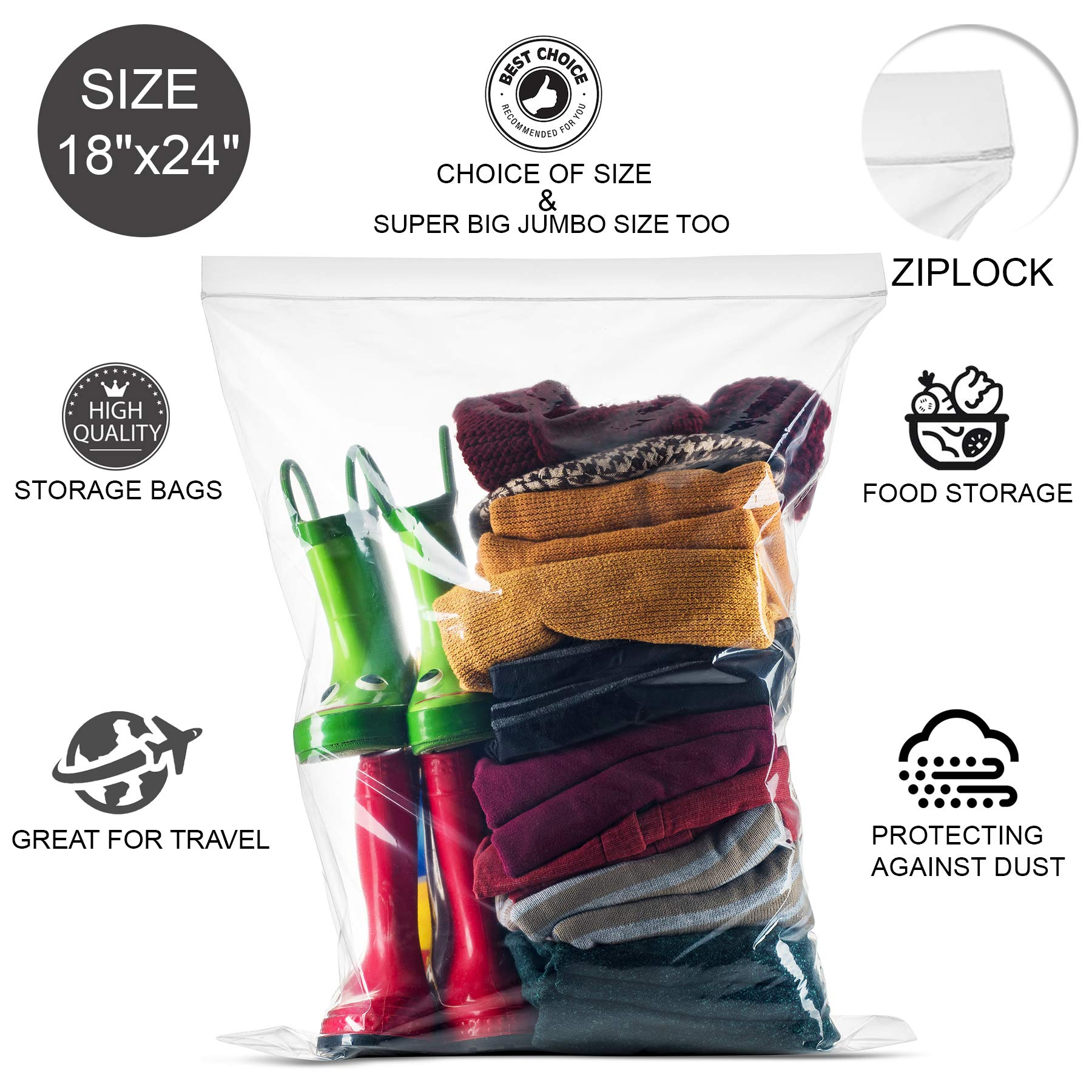 20 Count Extra Large Zip and Lock Bags, Strong Thick Clear Very Big Zip in Lock Storage Bags, Great for Food, Clothing, Toys, Supplies, Home & Office, Travel, Size 18'' x 24'', 2 Mill Thick