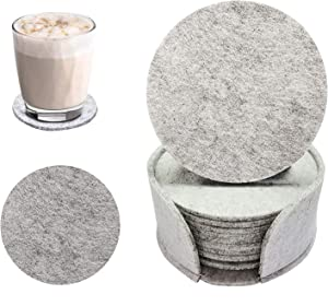 Felt Coasters,Set of 10 Coasters for Drinks with Holder, Absorbent Felt Coasters for Home, Office - Coffee Table/Kitchen Decor, Housewarming Gift (light grey)