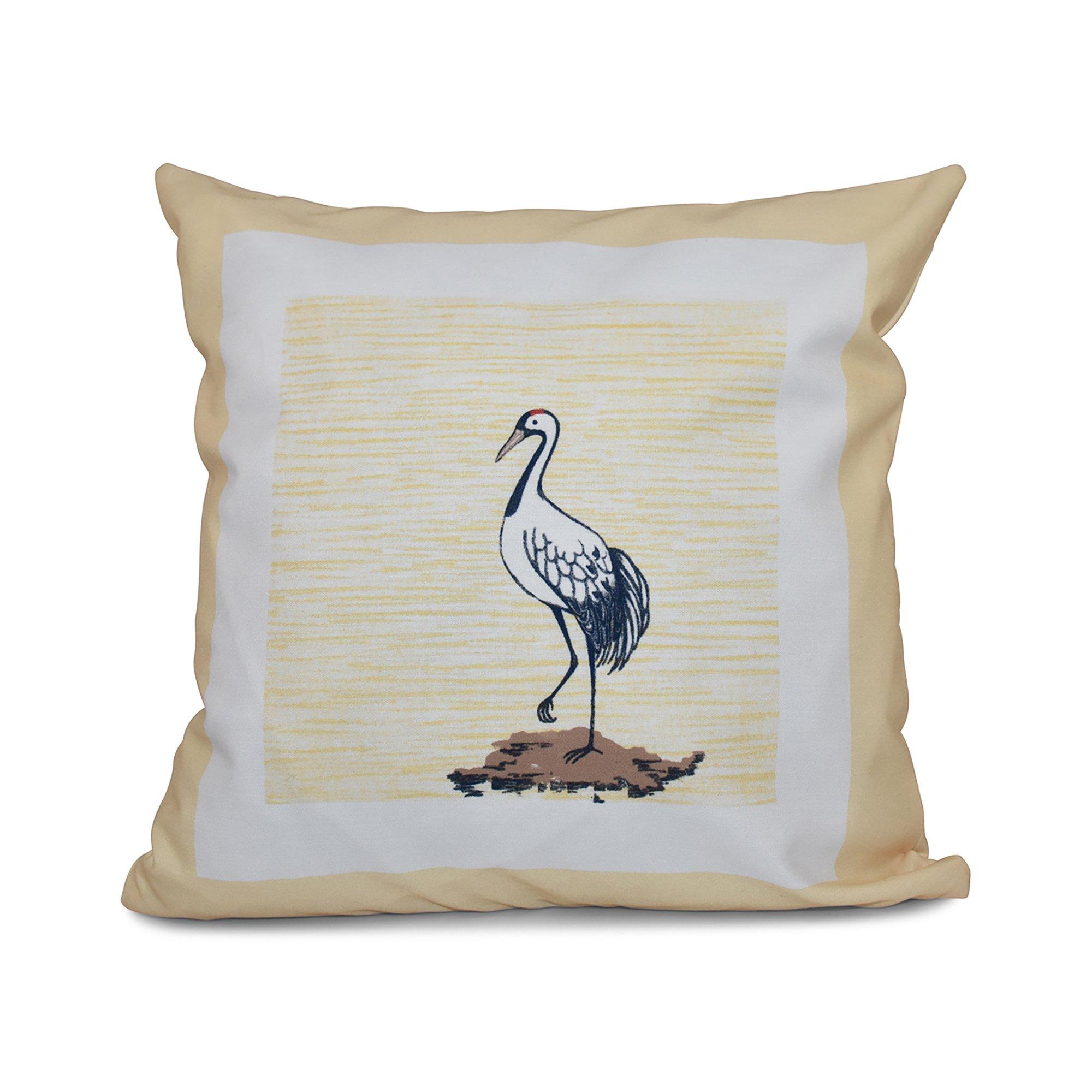 E by design 16 x 16 inch, Sandbar,Animal Print Pillow, Yellow