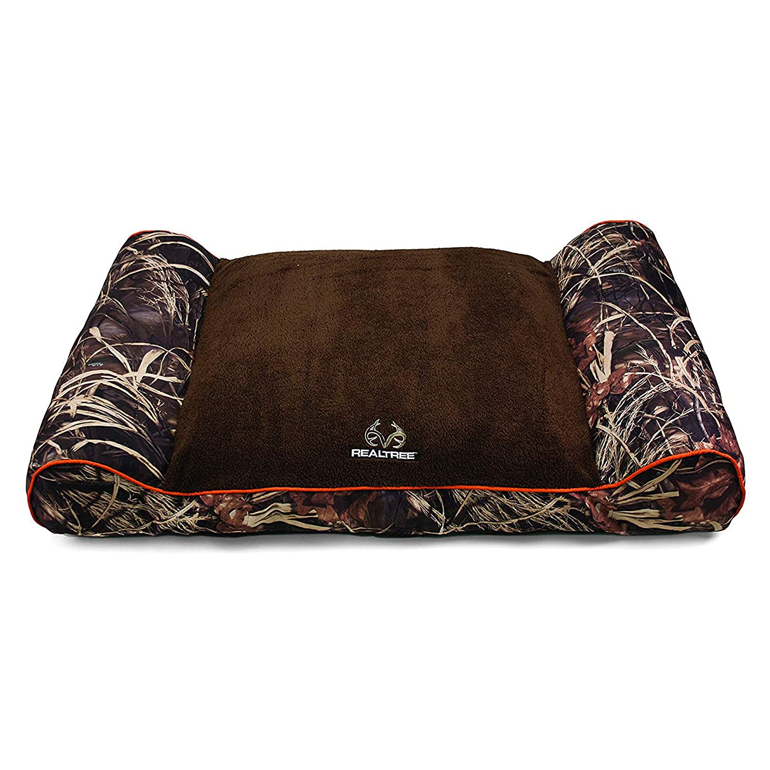 Taupe with orange Piping Dallas Manufacturing Co. Dallas CL4830-160.1 Realtree Giant Camo Pet Bed with Bolstered Ends, Taupe with orange Piping, 48  x 30