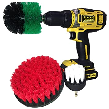 Drill Brush by Bluempire | Set Attachment - Power Scrubber - All Purpose 360 Cleaning -