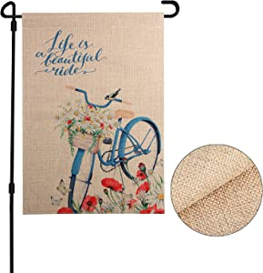 TJ.MOREE Life is a Beautiful Ride Garden Flag Spring Burlap Flag, Vertical Double Sided Blue Bicycle and Flowers, Home Yard Patio Lawn Outdoor Decor, 12.5 x 18 Inch