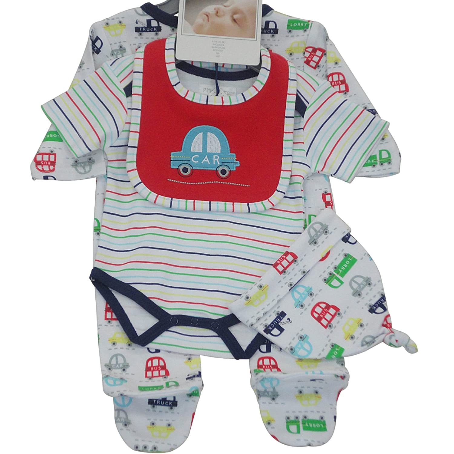 Babies 4 piece set stripe print dino applique/embroidery sleepsuit with hat and bib (3-6 month) PitterPatter