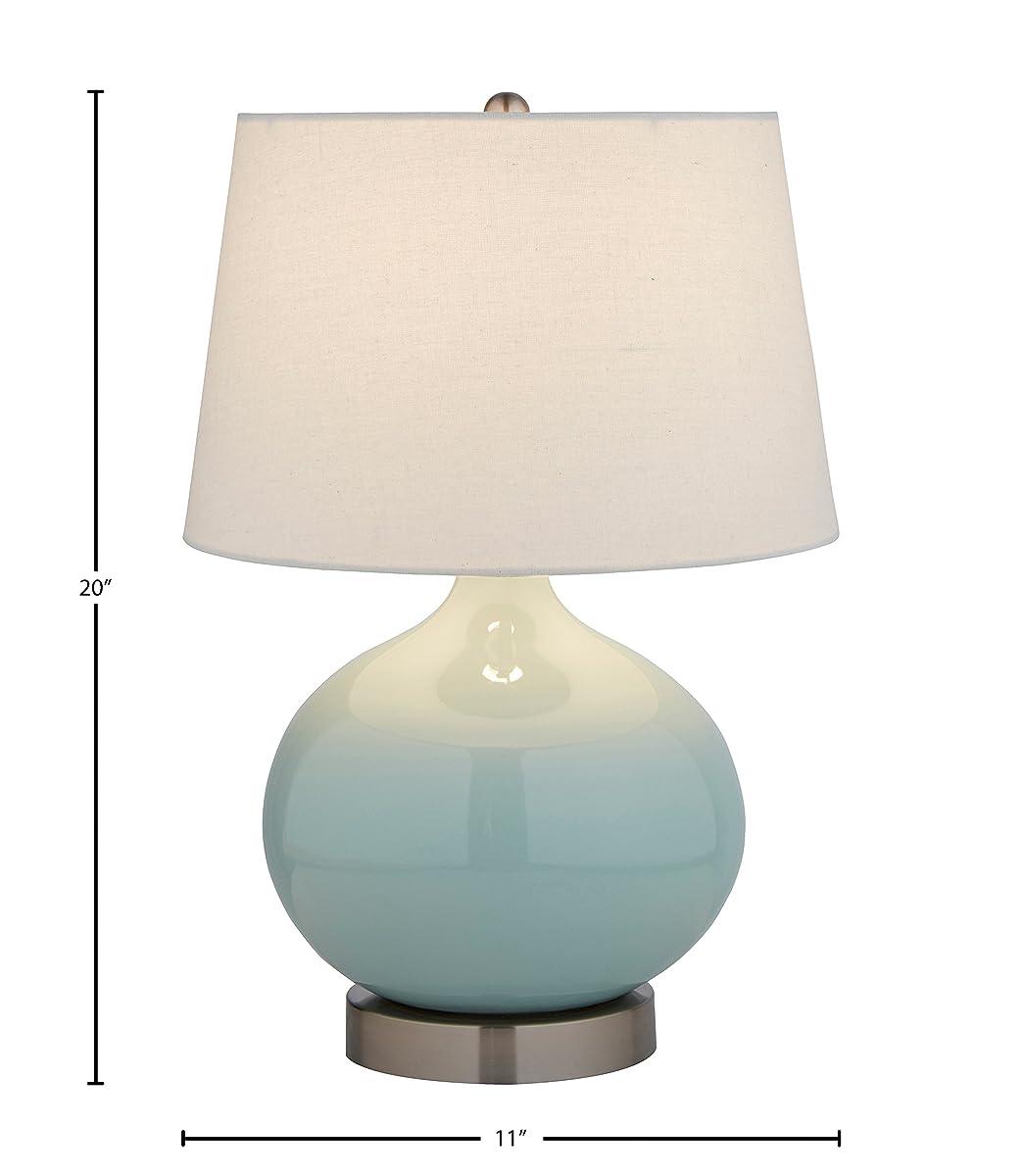 "Stone & Beam Cyan Ceramic Lamp, 20""H, With Bulb, White Shade"