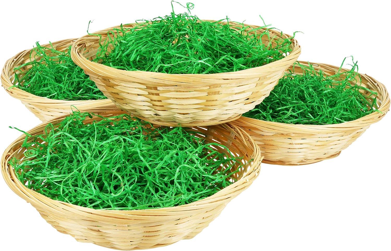 com-four® 4 canastos clásicos con decoración de césped Verde, diámetro: 19 cm (004 Piezas - Cesta con Hierba)