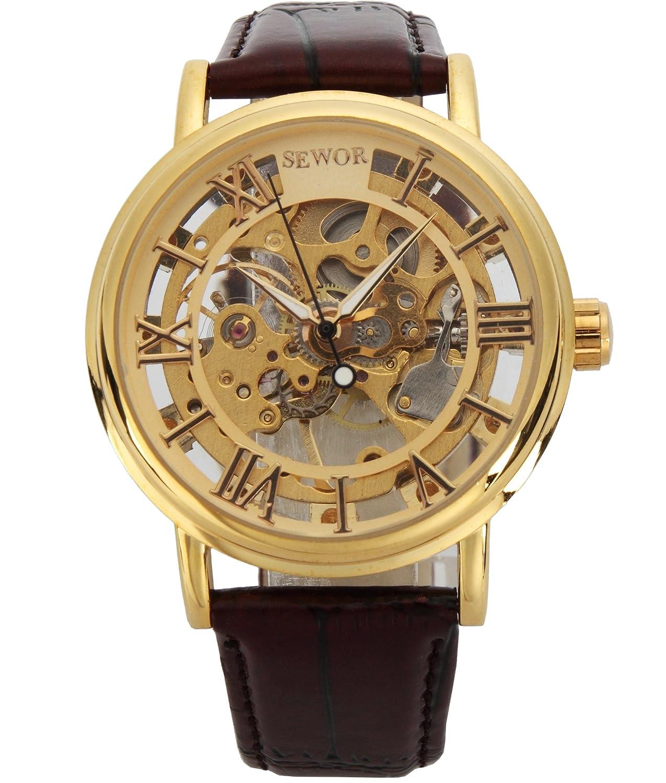 Sewor mens gold skeleton transparent vintage style rectangular watch new ebay for Classic skeleton watch
