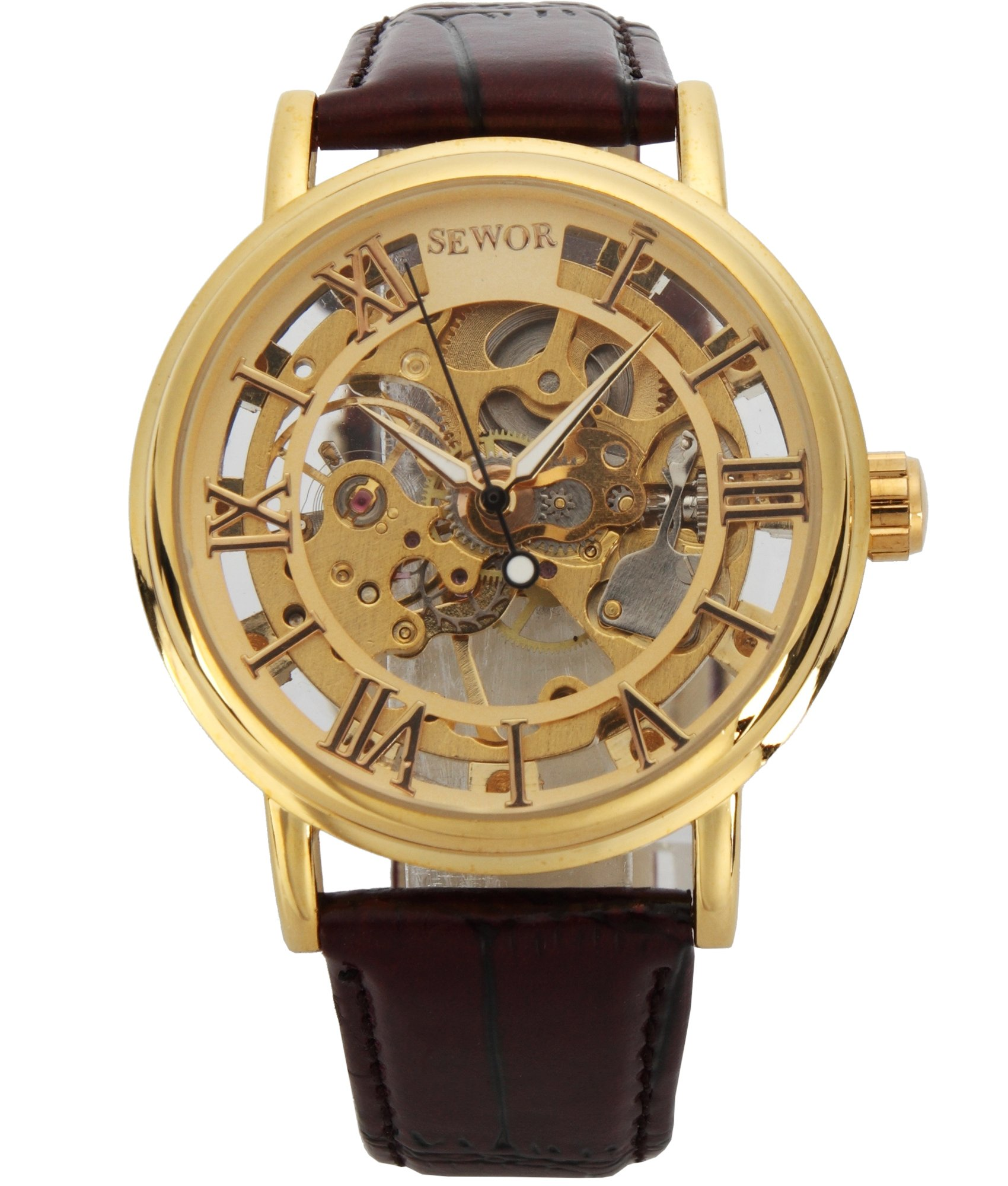 SEWOR Men's Mechanical Skeleton Transparent Vintage Style Leather Wrist Watch (GOLD)